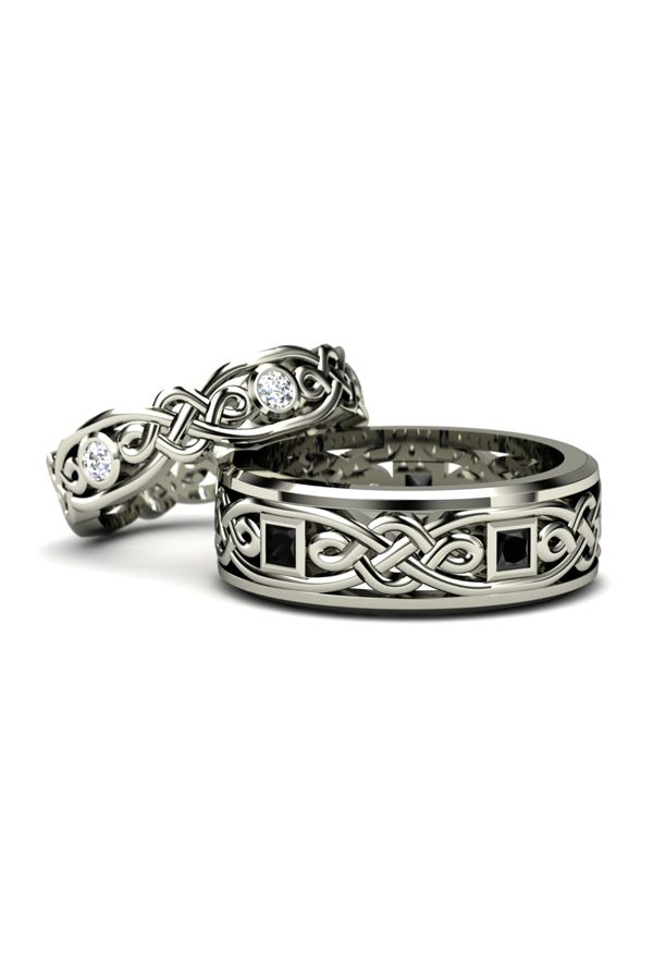 Inspired by the carved walls of the legendary Alhambra Palace with celtic knot motifs. Womens shown in 14K white gold and diamond, Mens shown in 14K white gold with black diamonds. These pieces will be made to order just for you in your choice of 24 gems and 8 metals