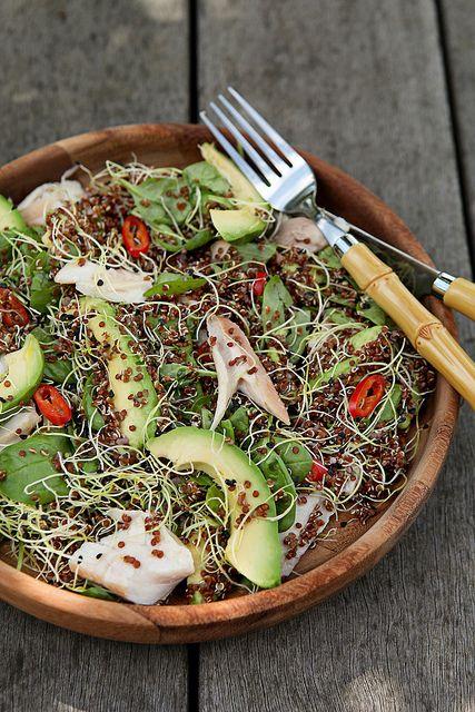 Quinoa met gerookte forel