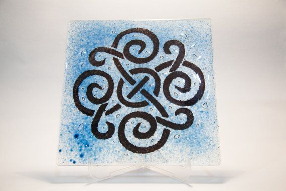 Flat decorative fused and painted glass plate by AtelierThalia