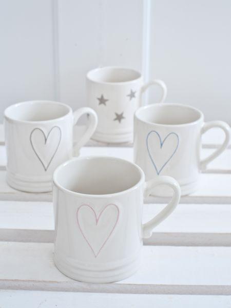 White coffee mugs