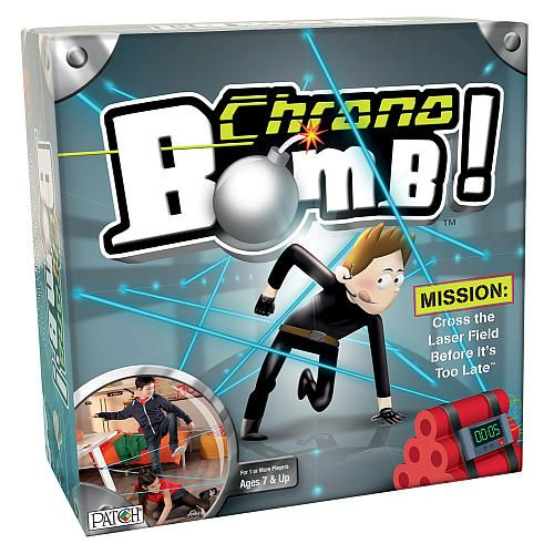 "Chrono Bomb(TM), a top-selling game in France, is a super secret spy mission where kids use the included clamps and 27.5-ft. string to create a ""laser"" field to crawl through."
