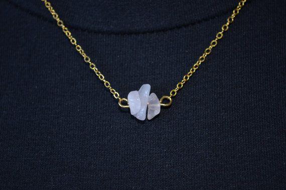 Rose Quartz Necklace Dainty Crystal Pendant Gold Chain Necklace Chakra Necklace…