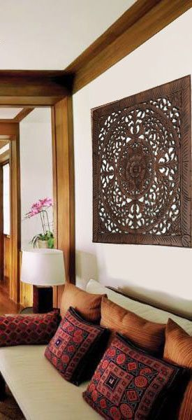 """Elegant Wood Carved Wall Plaque. Wood Carved Floral Wall Art. Rustic Tropical Home Decor. Large Wood Carving Wall Art. Set of 3 Decorative Thai Wall Relief Panel Sculpture. 36""""x36""""x0.5"""" Dark Brown"""