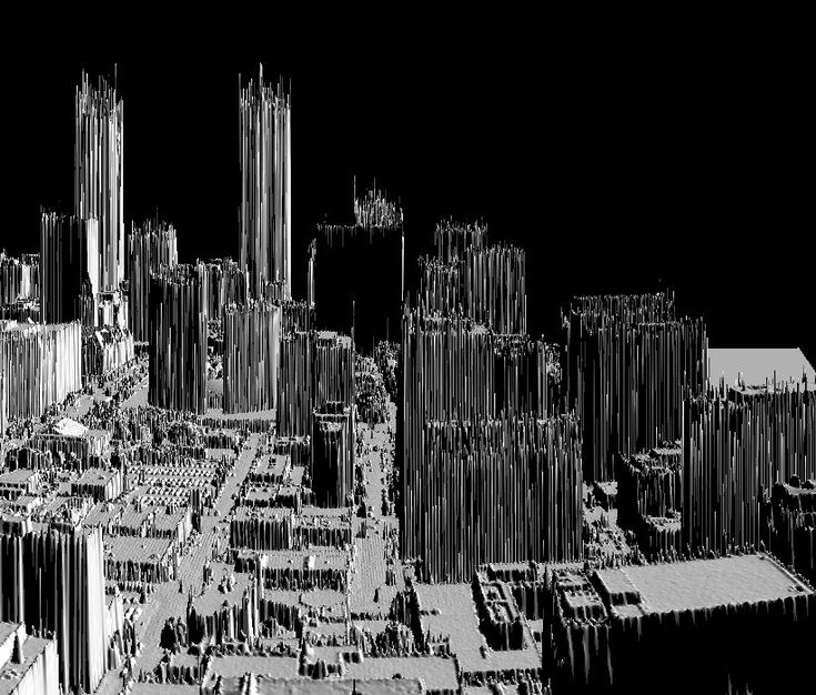 shade relief image of Downtown Toronto from rough raw un-edited LIDAR data