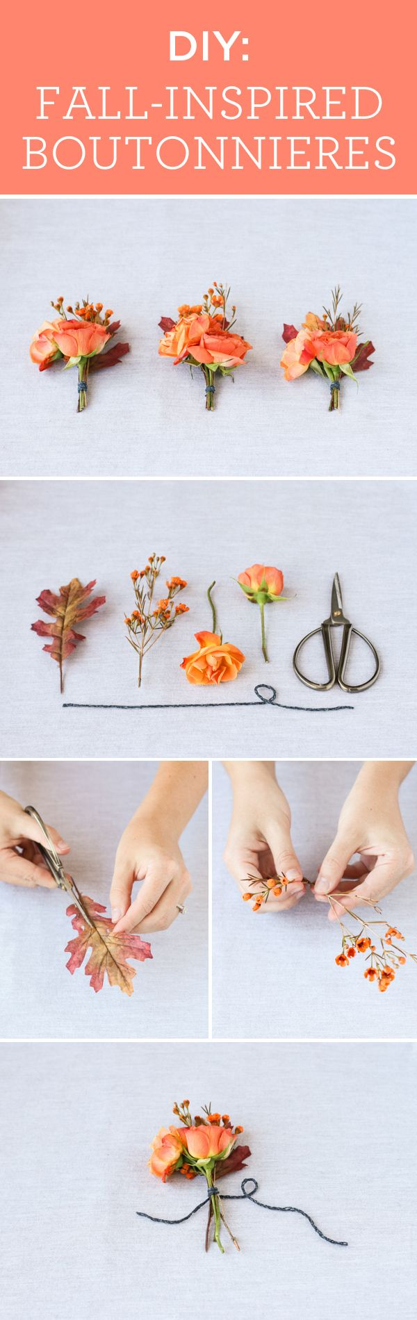 Adorable fall-inspired boutonniere DIY, complete with leaves! {By Jen Kirk via Project Wedding}