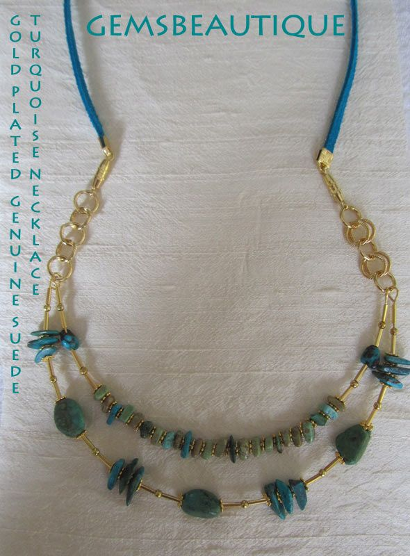 #turquoise #gemstone #suede #necklace #gold plated  #Gemstone #Jewelry by #GemsBeautique