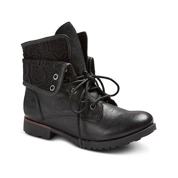 Women's Bobo Fashion Booties - Black ($28) ❤ liked on Polyvore featuring shoes, boots, ankle booties, black, black bootie, combat boots, black military boots, black army boots and short boots