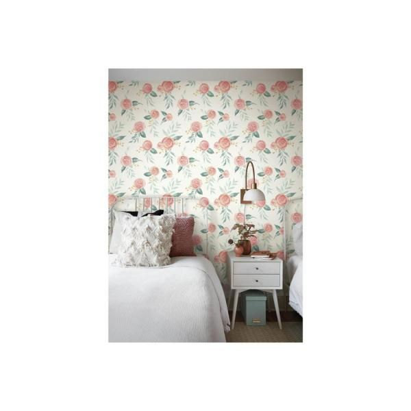 Magnolia Home By Joanna Gaines Watercolor Roses Red Paper Peelable Roll Covers 34 Sq Ft Psw1011rl The Home Depot Watercolor Rose Magnolia Homes Joanna Gaines Wallpaper