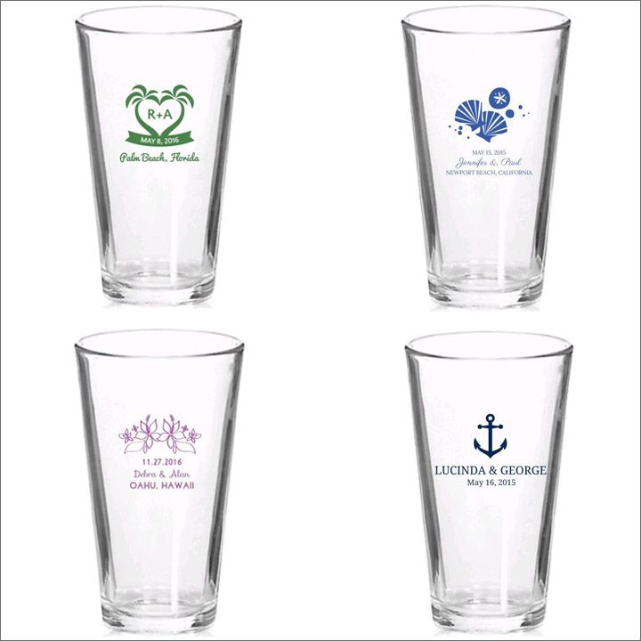 Customized Wedding Beer Glasses : Personalized Beer Glasses for a beach wedding or bridal shower Beach ...