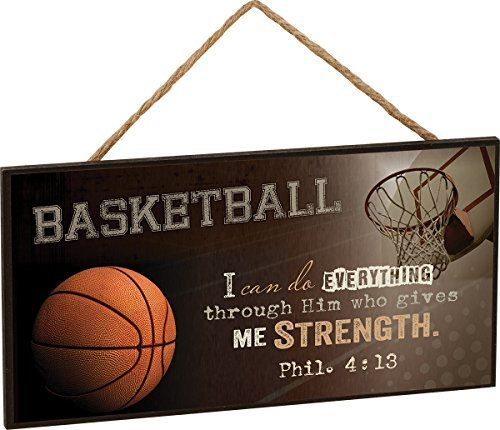 Basketball I Can Do Everything Through Him Philipians 4:13 Wooden Sign with Jute Rope Hanger