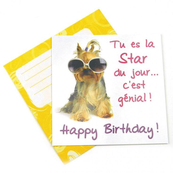 Carte anniversaire chien lunettes star  12x12cm