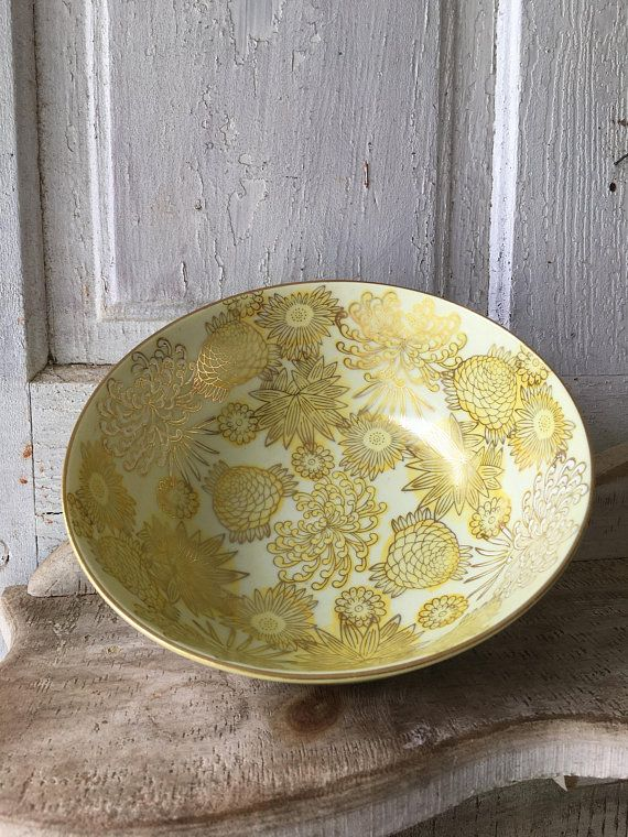 Vintage Asian Porcelain Serving Bowl With Inlaid Yellow And Gold Flowers And Golden Rim Classic Tableware Vintage Tin Gold Flowers Tableware