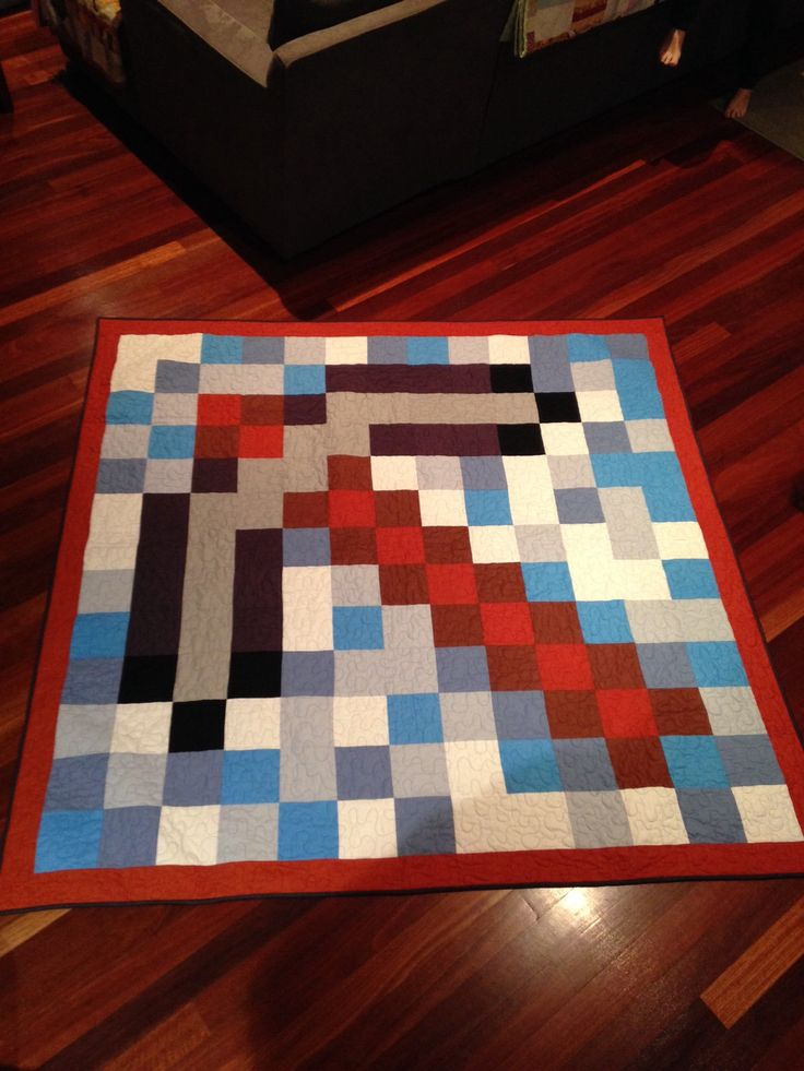 Minecraft pick axe DB quilt for Thomson boys