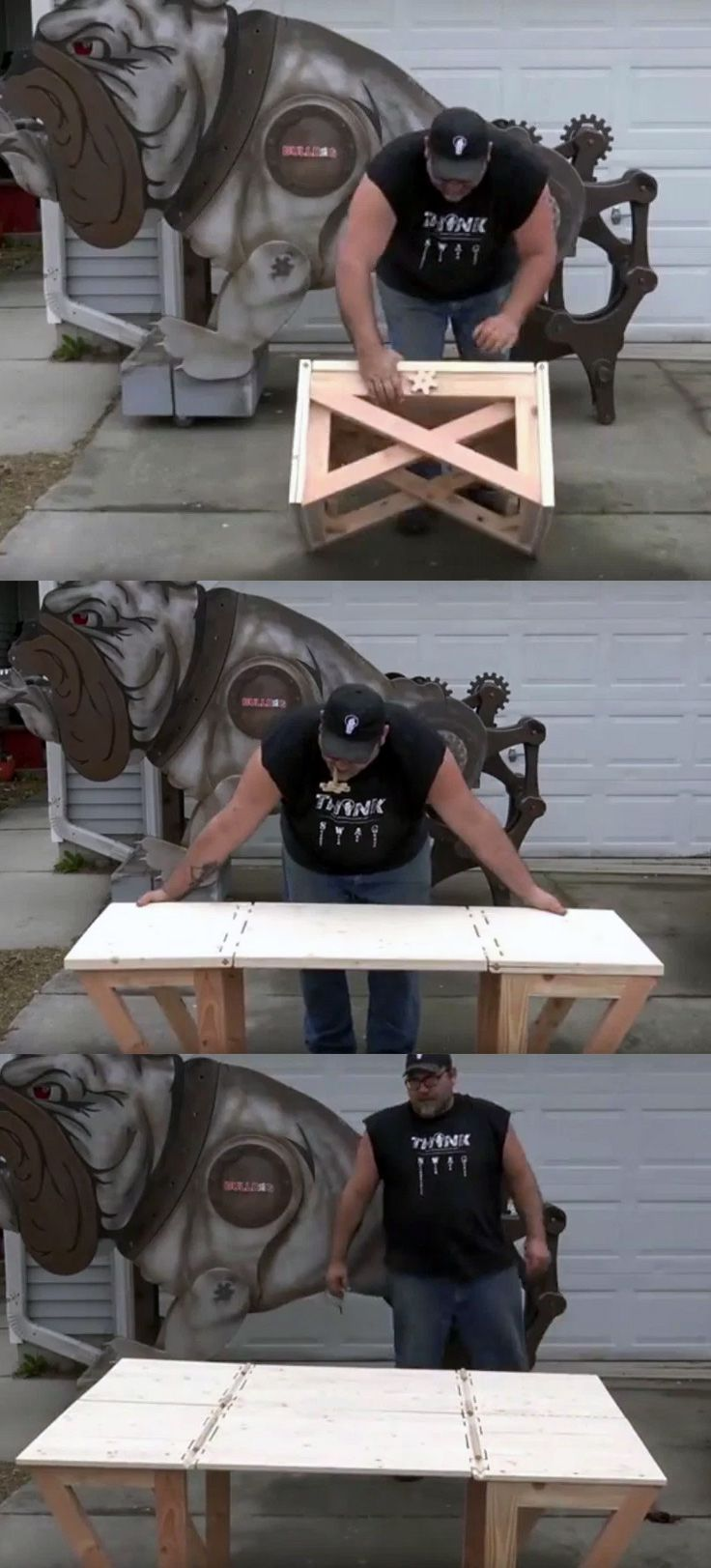 "Building the ""Impossible Bench"" An amazing coffee table that folds out from a stool!"