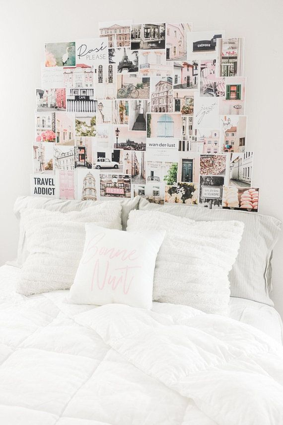 Dorm Decor Collage Art Pink Wall Art Room Decor Wall