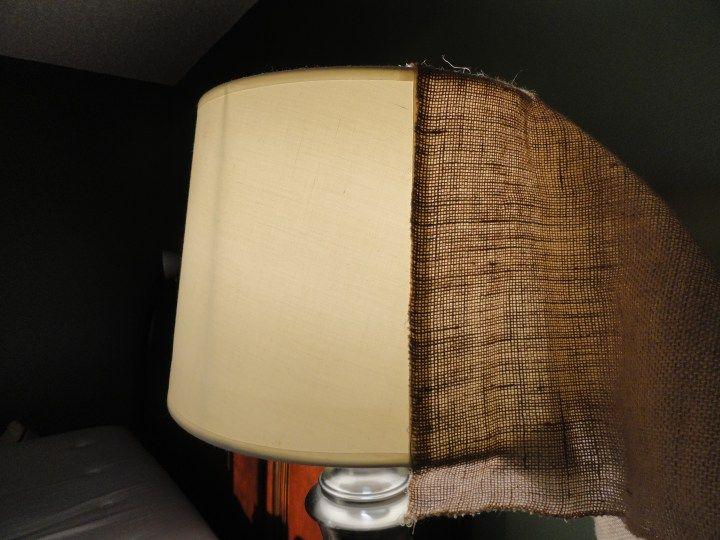 BEFORE & AFTER: Easy, cheap DIY burlap lamp shade upgrade   More at LeahandJoe.com