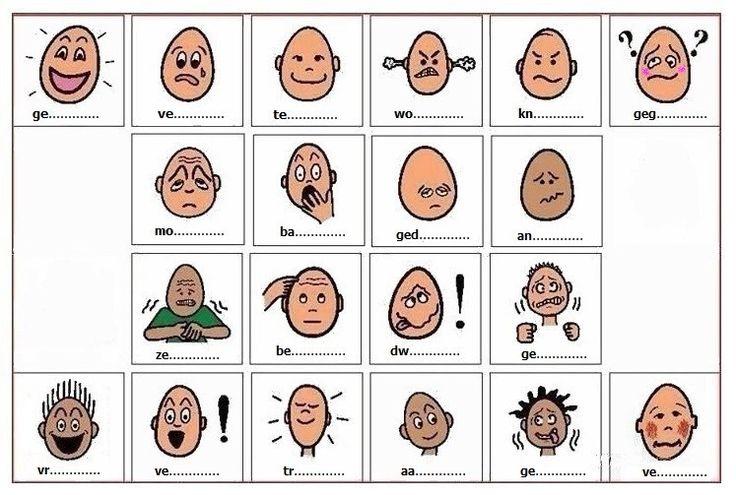 OEFENING : Gevoelens uitdrukken. Bekijk elk gezicht en vind het uitgedrukte gevoel. Voor één gezicht zijn er soms verschillende mogelijkheden. + OPLOSSINGEN : https://plus.google.com/u/0/collection/IecmgB