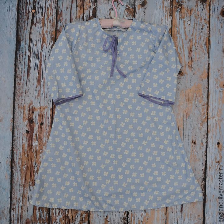 Купить Ночная рубашка васильковая для девочки винтаж хлопок 5 6 л - цветочный, для фотосессий