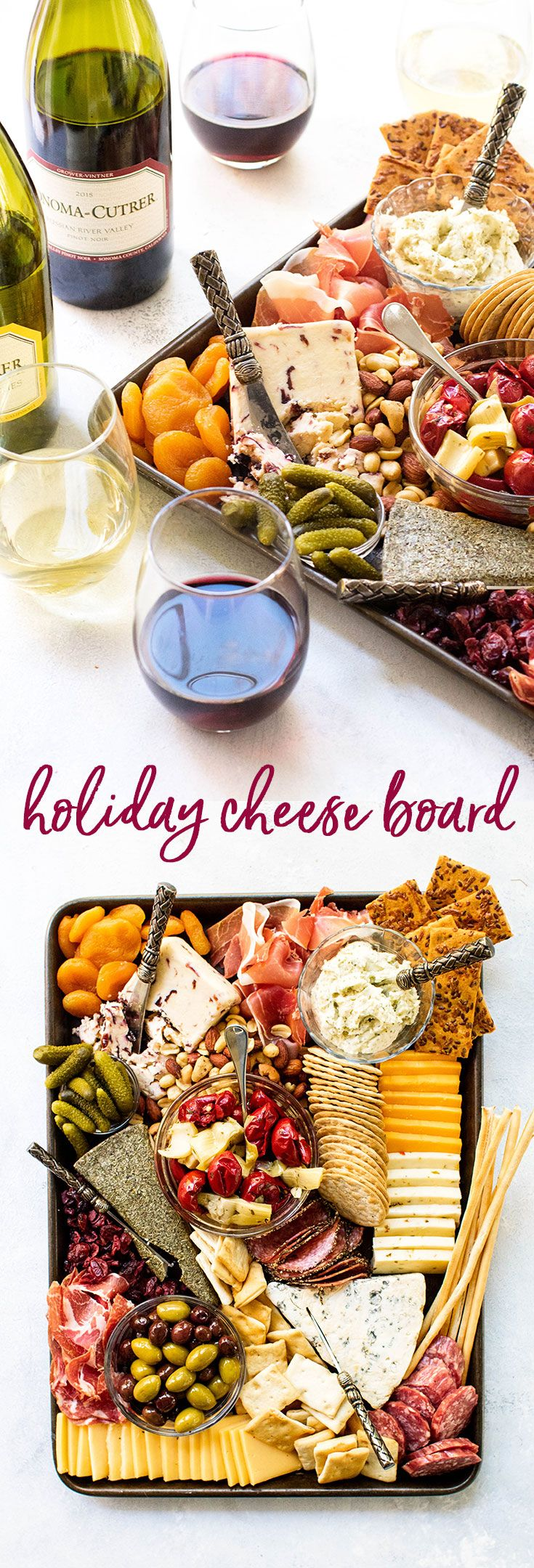 """You don't need a fancy slate or wooden board to build a beautiful cheese board. A simple sheet pan is a perfect base toassemble a delicious work of art for a get-together with friends and family. While there are no """"rules"""" in building a cheese board there are a few good tips to keep in mind  Get your printable guide to make your own masterpiece! #ad #21andup #sonomacutrer @sonomacutrervineyards #appetizers #cheeseboards  via @april7116"""