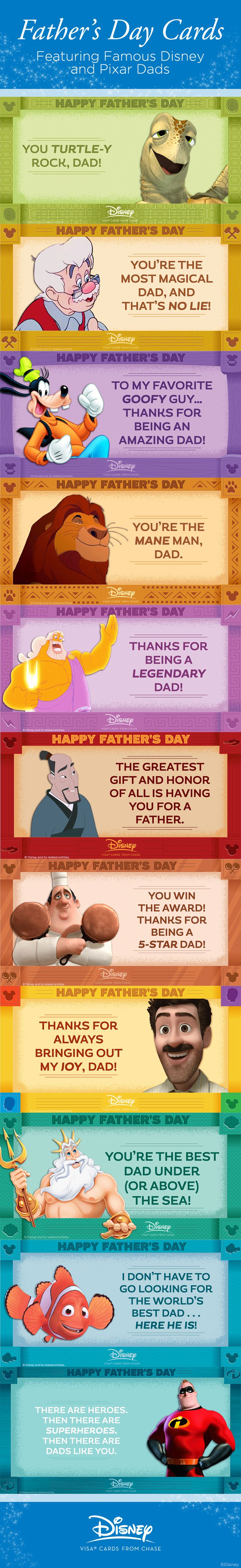 It's a fact: even dads get obsessed with Disney. If you're looking for a special way to wish your dad a Happy Father's Day, choose your favorite Disney Dad Card and surprise your pops with some online appreciation! From Mufasa to Crush, the only dad cooler than these classic characters is yours!