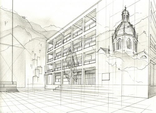 Viktor Timofeev: Ink and graphite on paper overlays Classic Italian architecture with the modern.