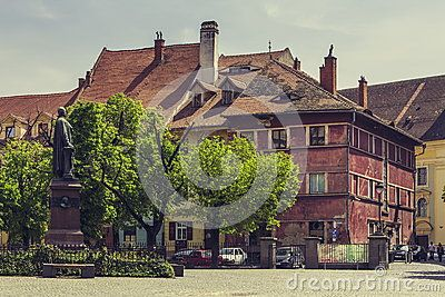 Sibiu, Romania - 06 May, 2015: Huet Square, one of the three beautiful squares in the historical center of the Upper Town of Sibiu city, Transylvania region.