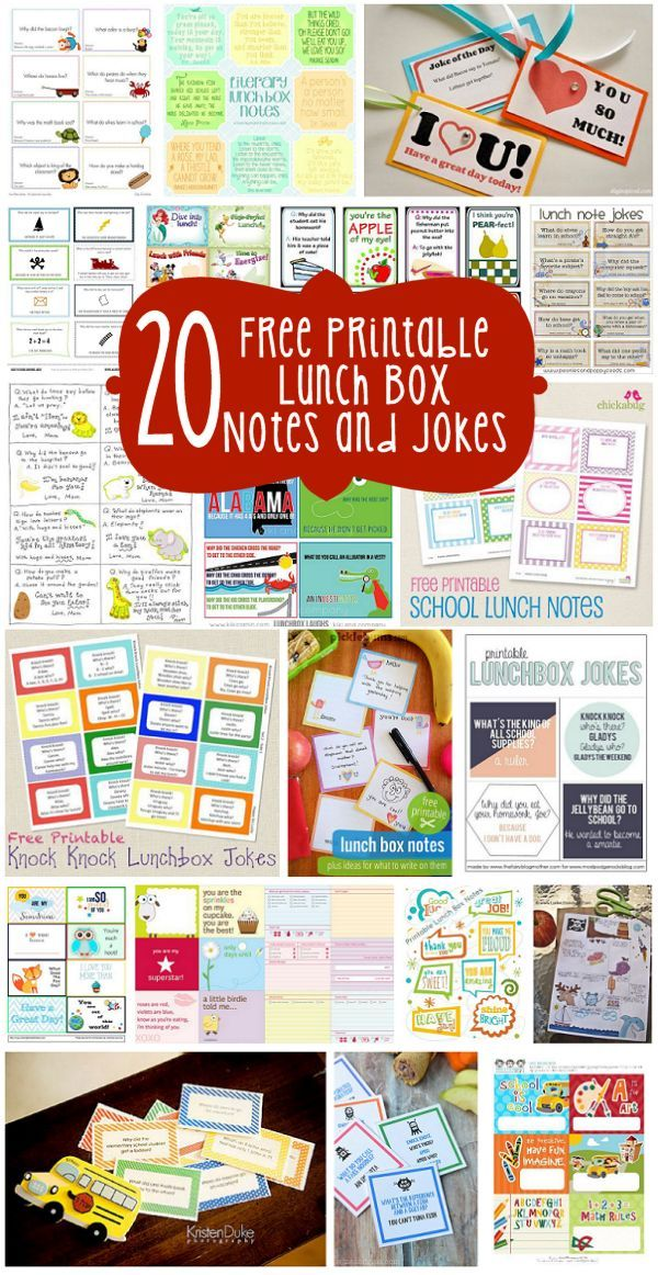 20 Free Printable Lunch Box Notes and Jokes - No matter how young or young tour child is, they will be thrilled to find one of these printable surprises in their lunch. (http://aboutfamilycrafts.com/20-free-printable-lunch-box-notes-and-jokes/)