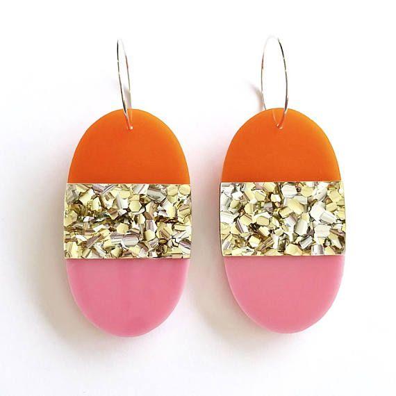 Split Pill Hoops Laser Cut Glitter Drop Earrings Each To