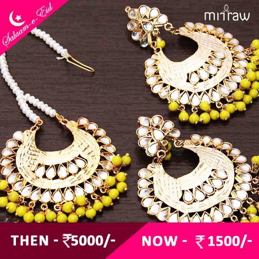 #Beautiful Kundan embellished earrings & maang tika.Shop Now- http://bit.ly/1R6KL5s #Salaam-e-Eid