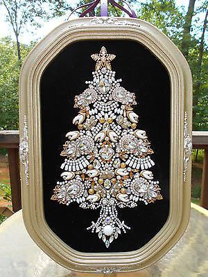 US $549.99 ebay Huge-Vintage-Rhinestone-Jewelry-Christmas-Tree-Framed-Art-18-x-12