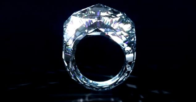 This is reminiscent of Cinderellas glass slipper... and I, for one, would LOVE the chance to try it on!!  (Swiss jeweler Shawish has created an eye-popping ring that's made entirely out of one 150-carat diamond.)