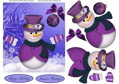 Winter Welcome Snowman with Decoupage on Craftsuprint designed by Barbara Hiebert - This card topper is in a different color than the traditional Christmas colors of purples, and this snowman has his arms stretched wide to welcome every one this holiday season,The sentiment tags say,Happy HolidaysSeason's Greetings - Now available for download!