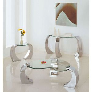 Acme Contemporary Metro Chrome End Table with Glass Table Top