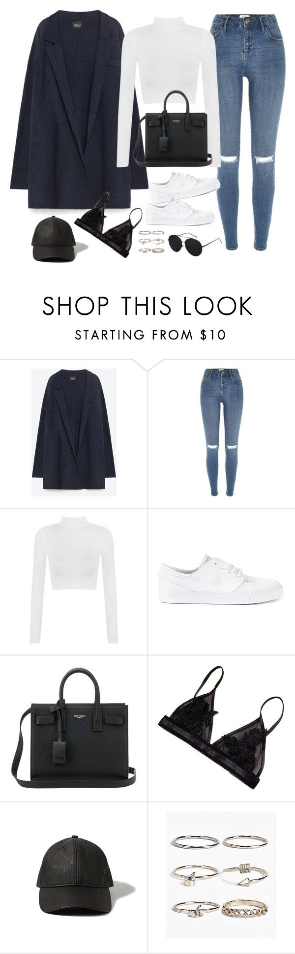 """Untitled#4568"" by fashionnfacts ❤ liked on Polyvore featuring Zara, River Island, WearAll, NIKE, Yves Saint Laurent, Abercrombie & Fitch and Boohoo"