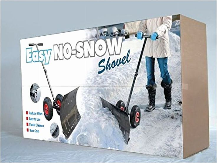 Heavy Duty Rolling Snow Shovel with Wheels Rotatable Steel Blade XL Wheels RED #EZNoSnowShovel