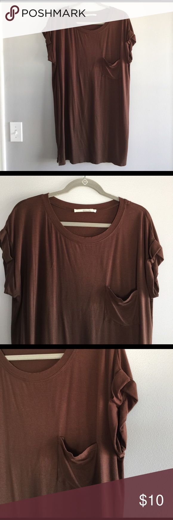 Ellison Long brown rolled sleeve t shirt This t shirt is long, comfortable and stylish. Brown color. Pocket. Rolled sleeves. Poly/rayon/spandex. Excellent condition. Worn once. Tops Tees - Short Sleeve