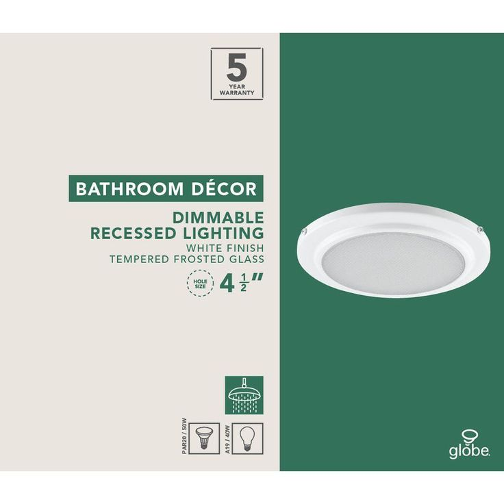 Globe Electric 5 in. White Recessed Shower Light Fixture-90036 - The Home Depot