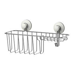 IKEA - IMMELN, Shower/soap basket with hook, The suction cup grips smooth surfaces.Made of zink-plated steel, which is durable and rust resistant.