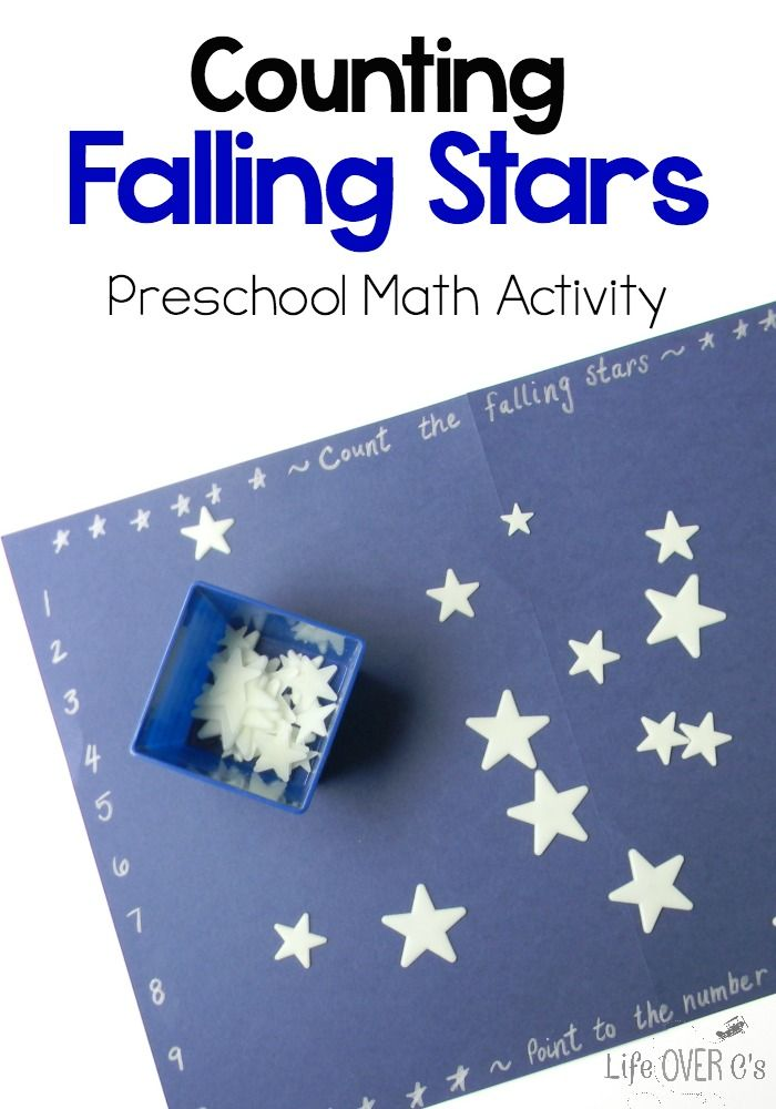 Counting Falling Stars: This Preschool math activity for counting is perfect for building number recognition and learning one-to-one correspondence. Click to get the details for playing with your preschooler today.
