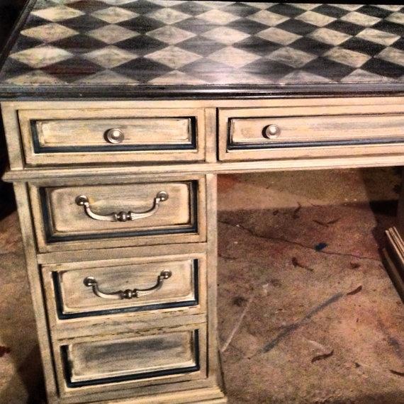 Reclaimed vintage desk hand painted by RedeemedBelongings on Etsy. , via Etsy.
