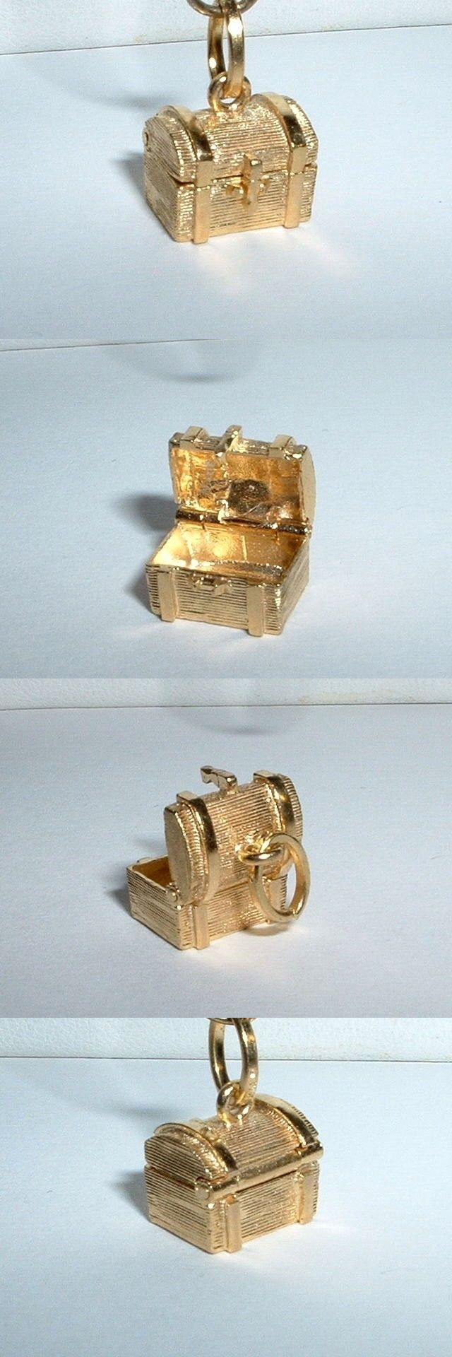 Fine Charms and Charm Bracelets 140956: 14K Yellow Gold 3D Treasure Chest Charm Opens BUY IT NOW ONLY: $159.0
