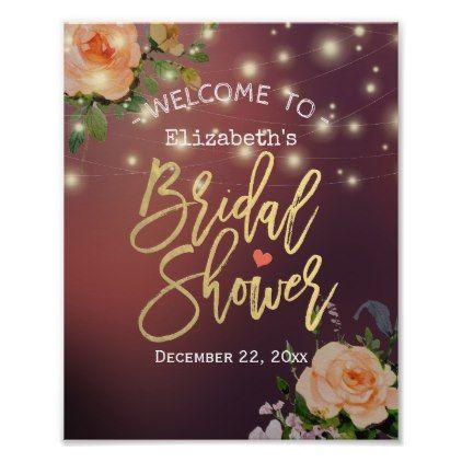 Burgundy Floral String Light Bridal Shower Welcome Poster - bridal shower gifts ideas wedding bride
