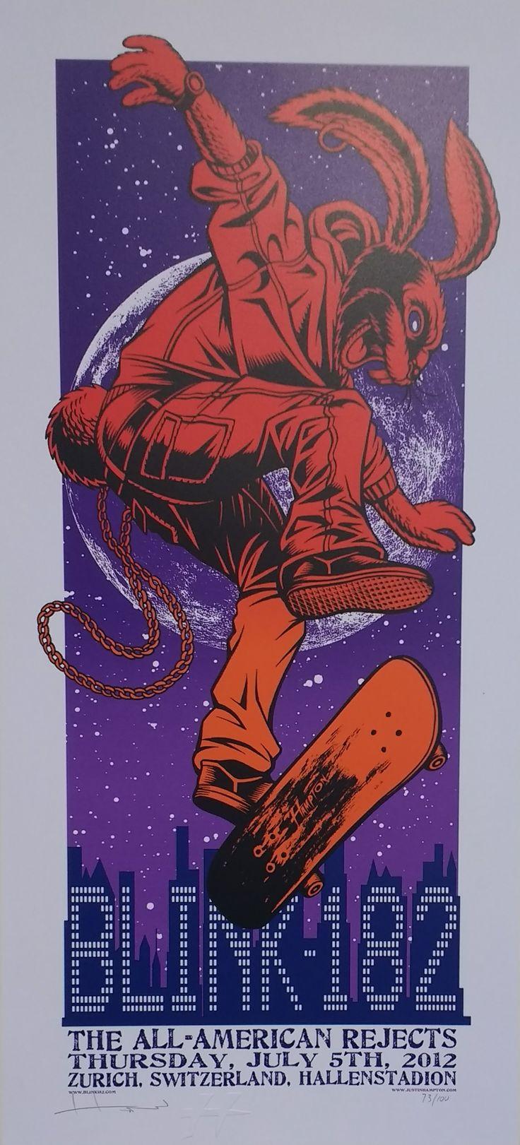 Blink 182 Concert Poster Justin Hampton Zurich 2012