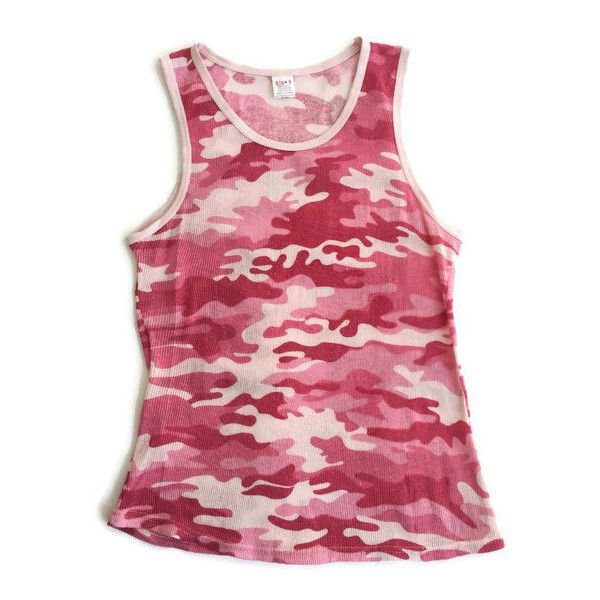 Pink Camo Ribbed Tank Top (1,115 EGP) ❤ liked on Polyvore featuring tops, camo tank, pink tank top, sleeveless tank tops, red sleeveless top and rib tank top