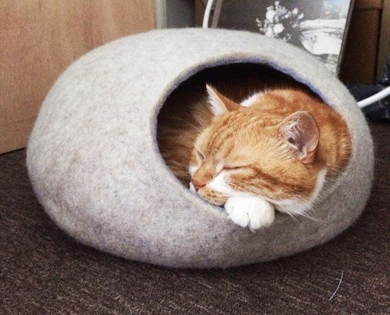 This cat bed is a cute decoration for your interior and comfortable bed for your beloved cat or small puppy. This bed is made form natural not