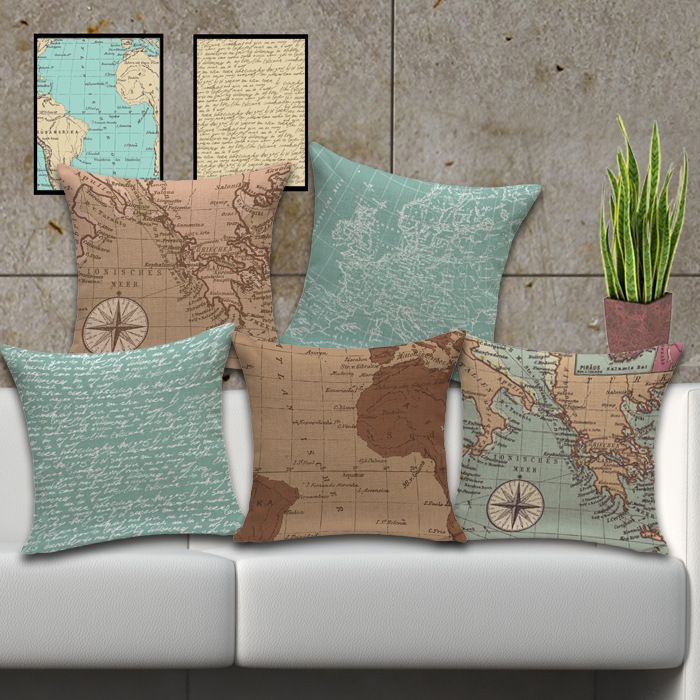 Mediterranean Cushions nautical map of the world Retro cushion cotton pillow for…