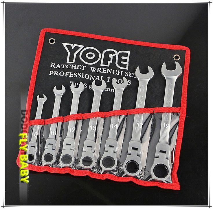 7pcs flexible head combination ratchet wrench auto repair hand tools set of keys spanner llaves herramientas #Affiliate