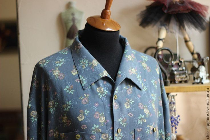 """Купить Элегантная мужская рубашка """"Provence"""" - морская волна, цветочный, рубашка из хлопка, рубашка мужская"""