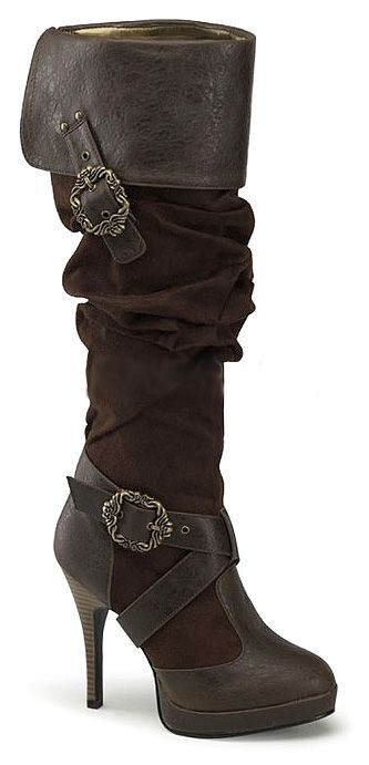 Popular Sexy Gold And Black Pirate Boots  Womens Pirate Footwear