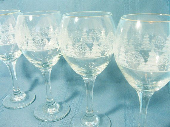 """6 Arbys Snow Scene 7 3//4/"""" Water Goblets or Wine Glasses Gold Rim 3 Sets Avail."""